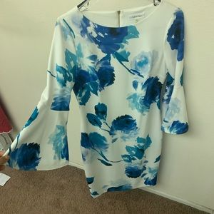 Floral print Calvin Klein dress with bell sleeves